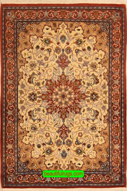 Hand Woven Persian Isfahan Rug, Vegetable Dyed Rug, Kurk & Silk Rug, size 2.10x3.9, main image