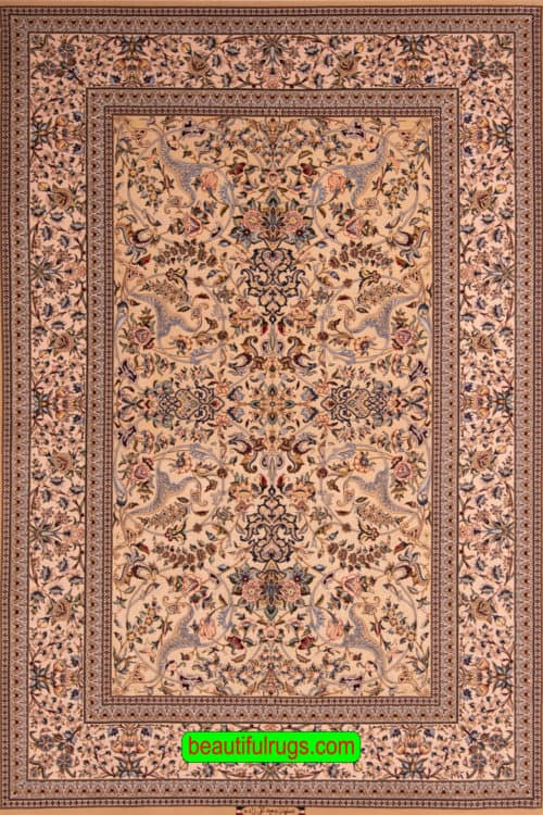 Hand Knotted Persian Isfahan Rug, Marble Color Kurk Wool and Silk Rug, size 5x7.7, main image