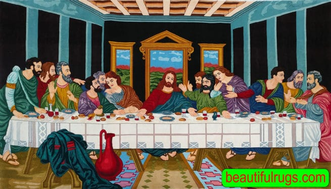 Last Supper Rug, Beautiful Rug, A Very Special & Memorable Christian Art, size 7.8x4.5