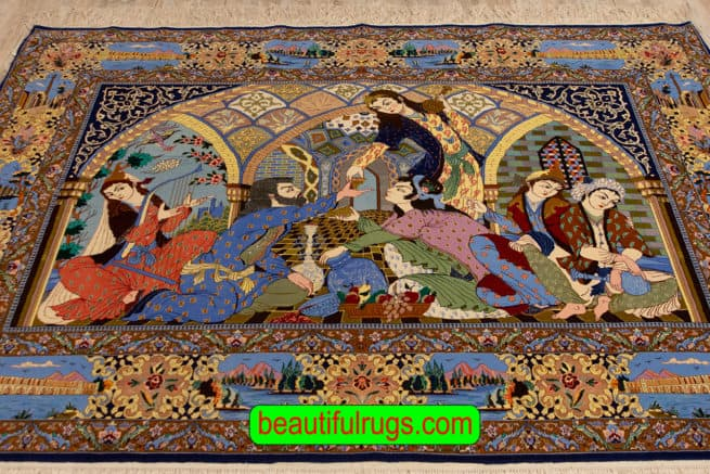Poetic Gathering Rug, Handmade Persian Isfahan Vertical Pictorial Rug, size 7.3x5.3, close up image