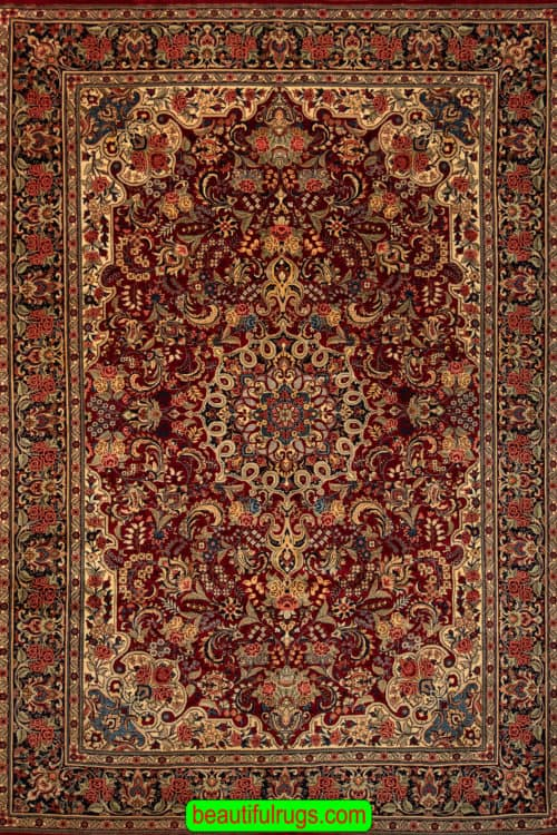 Old Persian Rug, Handmade Persian Bijar Rug, Traditional Red Color Rug, size 7.6x10.9, main image