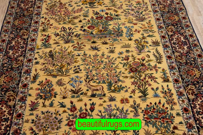 Hand Woven Persian Isfahan Kurk Rug, Floral Pattern with Birds & Animals, size 5.4x7.10, close up image