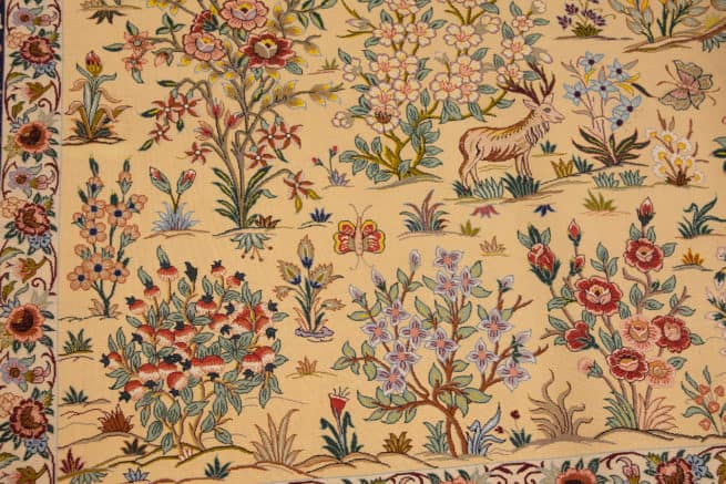 Hand Woven Persian Isfahan Kurk Rug, Floral Pattern with Birds & Animals, size 5.4x7.10, backside image