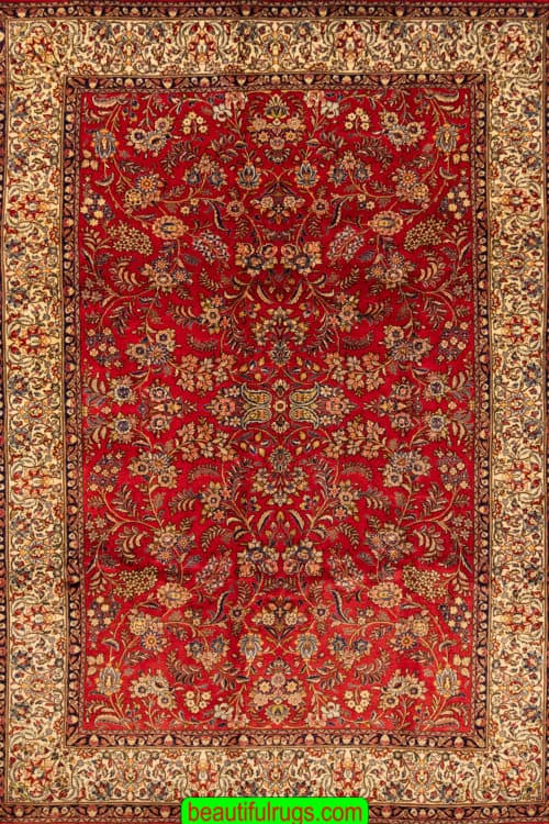 Handmade Traditional Persian Sarouk Rug, Allover Design Sarouk Rug, size 7x10.3, main image