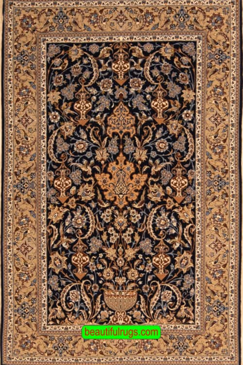 Handmade Persian Isfahan Rug, Navy Blue and Beige Color Isfahan Rug, size 3.10x6, main image
