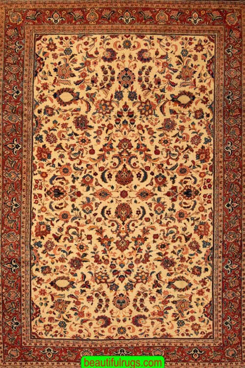 Old Handmade Rugs, Allover Design Beige Color Persian Sarouk Rug,size 7x10.4, main image