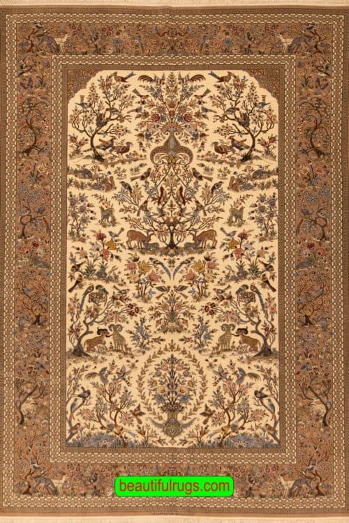 Isfahan Rug, Persian Isfahan Rug with Bird and Animal by Abbas Mansouri, size 7x10.5, main image