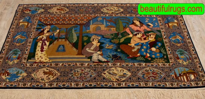 Handmade Pictorial Rug, Vertical Pictorial Persian Isfahan Rug, size, 6x3.10, close up image