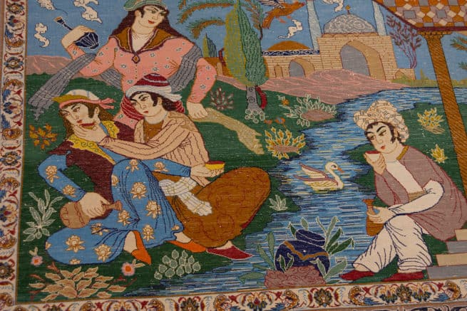Handmade Pictorial Rug, Vertical Pictorial Persian Isfahan Rug, size, 6x3.10, backside image