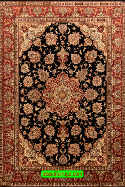 Black Color Rug, Hand Woven Persian Tabriz Rug, Family Room Rug, size 8.4x11.7, main image
