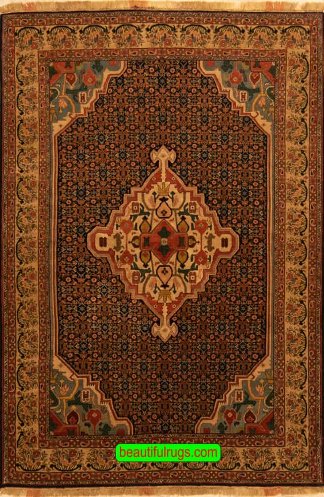 Handmade Persian Senneh Rug, Vegetable Dyed Traditional Style Rug, size 5x7.1, main image