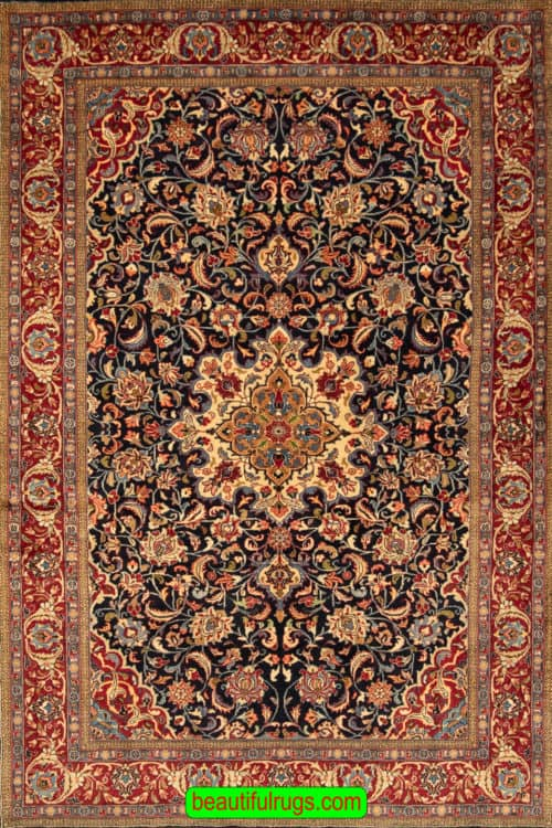 Handmade Rug, Old Persian Sarouk Rug with Navy Blue Color, size 4.10x7.6, main image