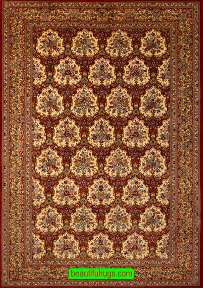 Garden Design Rug, Hand Knotted Persian Qum Rug, Traditional Rugs, size 6.9x10, main image