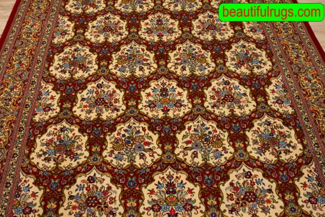 Garden Design Rug, Hand Knotted Persian Qum Rug, Traditional Rugs, size 6.9x10, close up image
