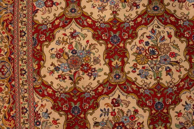 Garden Design Rug, Hand Knotted Persian Qum Rug, Traditional Rugs, size 6.9x10, backside image