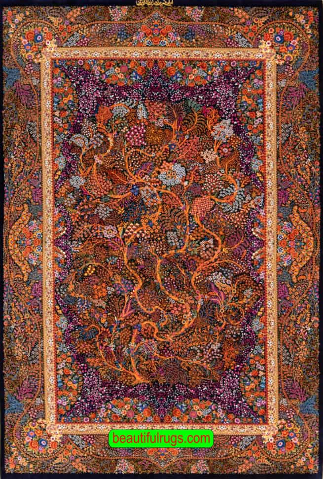Very Fine quality Hand Knotted Persian Qum Silk rug, Artistic Tree of life, navy blue and orange color rug, size 4.6x7, main image