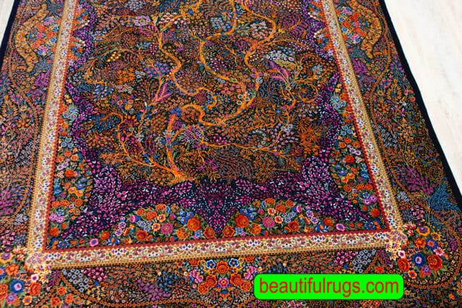 Very Fine quality Hand Knotted Persian Qum Silk rug, Artistic Tree of life, navy blue and orange color rug, size 4.6x7, close up image