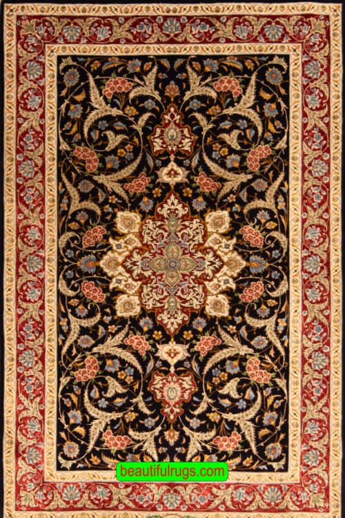 Fine Persian Rug, Handmade Persian Tabriz Rug with Black & Red Color, size 3.10x6.1, main image