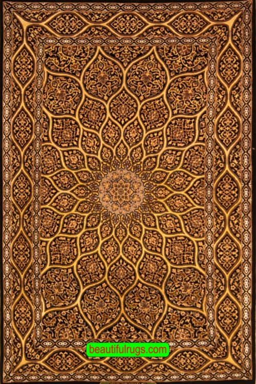 Gonbadi Design Rug, Black & Gold Color Handmade Persian Isfahan Rug, size 3.5x5.4, main image