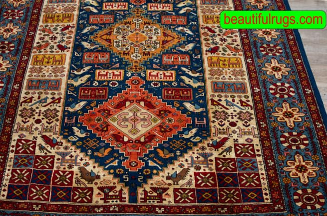5x8 Rug, Handmade Persian Qashqai Rug, Geometric Style Rug, close up image