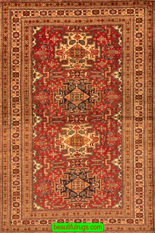 "5×7 Rug ""Used Oriental Rug"" Handmade Persian Rug, Old Persian Rugs, main image, size 4.10 x 7"