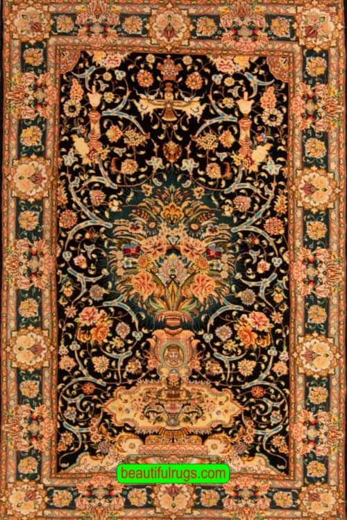 Handmade Kurk Wool Persian Tabriz Rug, Black Color Directional Rug, size 4x6.3, main image