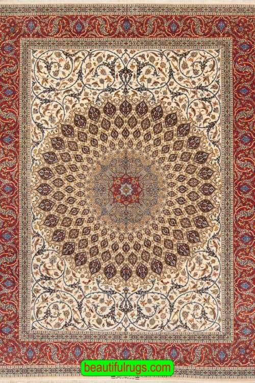 Handmade Persian Isfahan Rug, Gonbadi Design Rug, Curvilinear Style Rug, Kurk Wool and Silk Pile on Silk Foundation, size 10.2x13.7, main image