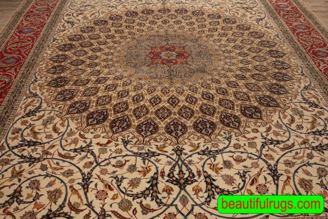 Handmade Persian Isfahan Rug, Gonbadi Design Rug, Curvilinear Style Rug, Kurk Wool and Silk Pile on Silk Foundation, size 10.2x13.7, close up image image