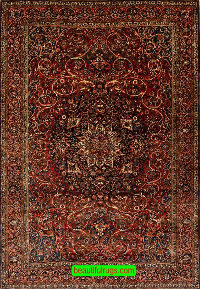 Classic Antique Rug, Antique Persian Bakhtiari Rug, Terracotta Color Rug, size 10.6x14.8, main image