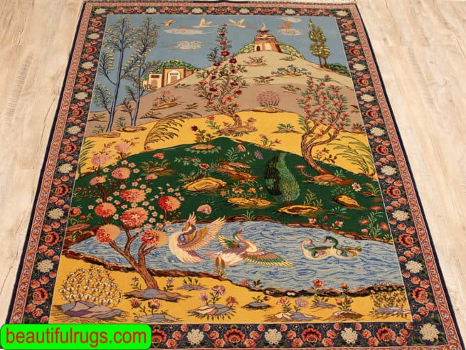 Handmade Isfahan Haghighi Rug, Scenic Rug, Fine Quality Persian Isfahan Rug, Natural Dyed Rug, size 4x5.5, close up image