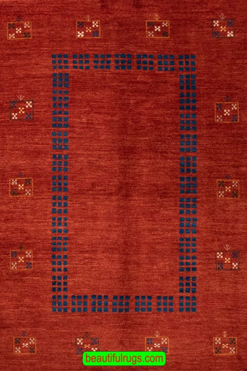 Red Color Gabbeh Rug, Handmade Contemporary Persian Gabbeh Rug, size 5.9x8.2, main image