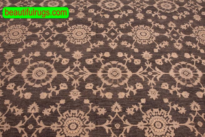 Handmade Oriental Rug, Grey Color Contemporary Style Wool Rug, size 8.9x10.10, close up image
