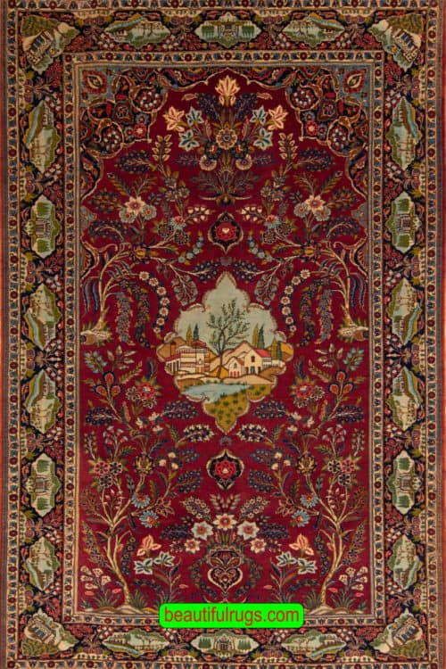 Antique Rug, Persian Kashan Rug, Scenery Rug, Tree of Life Rug, size 5.3x8.7, main image