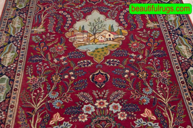 Antique Rug, Persian Kashan Rug, Scenery Rug, Tree of Life Rug, size 5.3x8.7, close up image