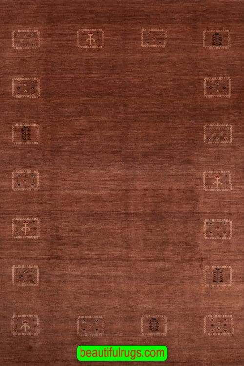 8x10 Brown Color Gabbeh Rug, Contemporary Persian Gabbeh Wool Rug, main image