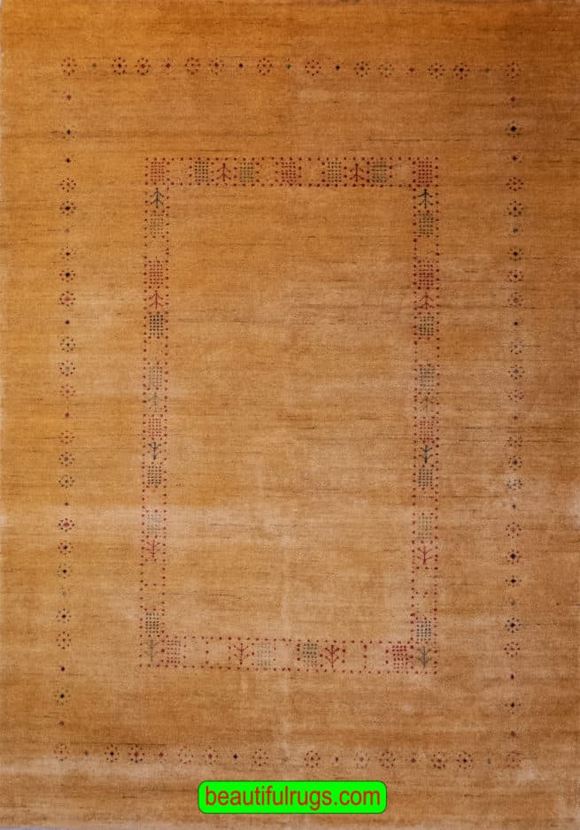 Hand Knotted Contemporary Rug, Red & Gold Color Gabbeh Style Rug, size 5.5x7.9, main image