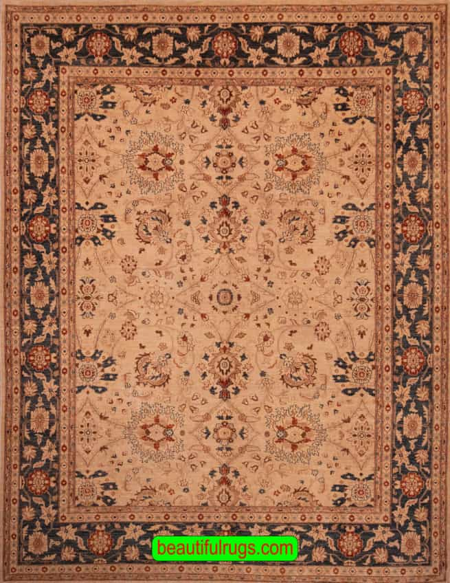 9x12 Transitional Rug, Hand Knotted Ziegler Style Rug, with Beige & Rust, main image