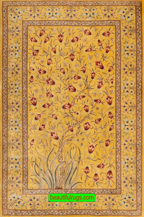 Silk Rug, Persian Qum Silk Rug, Yellow Color Tree of Life Rug, size 3.4x5, main image