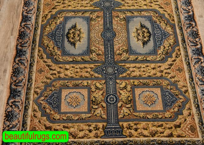 Hand Knotted Vegetable Dyed Rug, Persian Isfahan Silk Rug, Mahmood Mohaghegh Rug, size 3.3x5, close up image