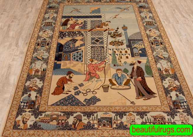 Handmade Isfahan Pictorial Rug, A Collectible Antique Persian Isfahan Rug, size 5x7.7, close up image