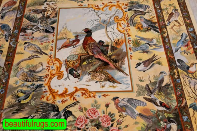 Hand Knotted Persian Tabriz rug, Bevy of Birds Rug, Scenery Rug, Artwork of Iran Rugs, Festival of Birds, size 5x7, close up image
