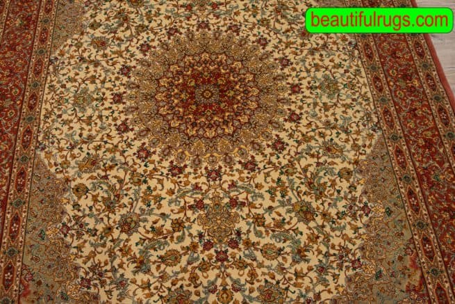 5x8 Rug, Hand Knotted Persian Qum Rug, Mauve Color Kurk and Silk Rug, size 5.3x7.10, close up image