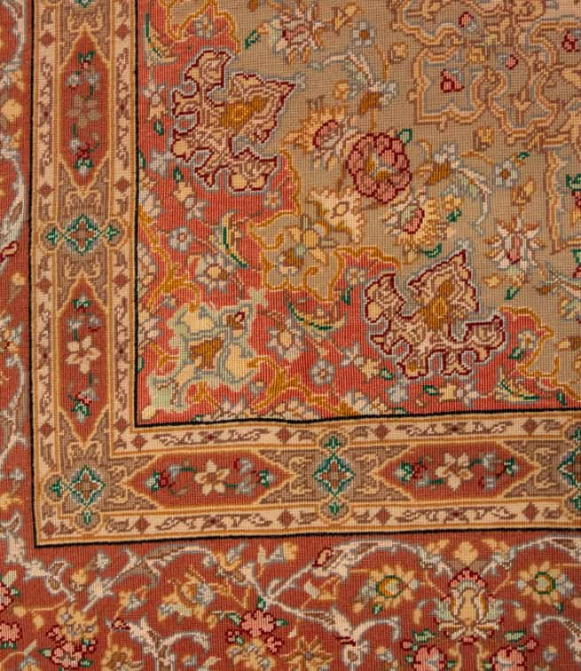 5x8 Rug, Hand Knotted Persian Qum Rug, Mauve Color Kurk and Silk Rug, size 5.3x7.10, backside image