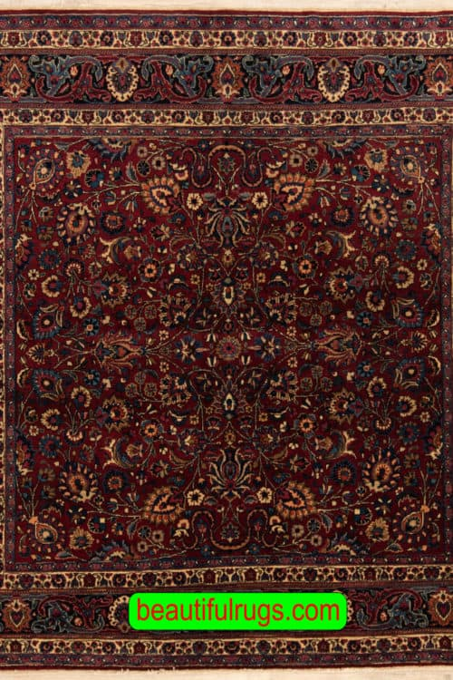 Square Rug, Vintage Persian Mashad Rug, Hand knotted Persian Rug, size 6.10x6.7, main image