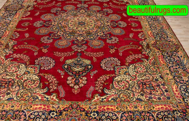 10x14 Rug, Old Rug, Hand Knotted Persian Traditional Kerman Rug, close up image
