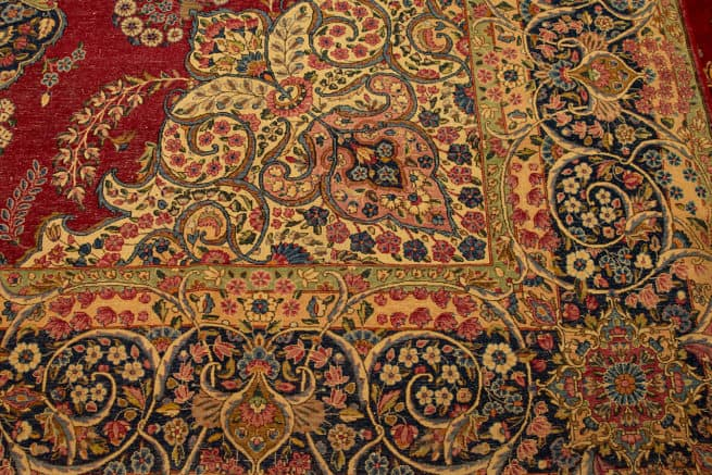 10x14 Rug, Old Rug, Hand Knotted Persian Traditional Kerman Rug, backside image