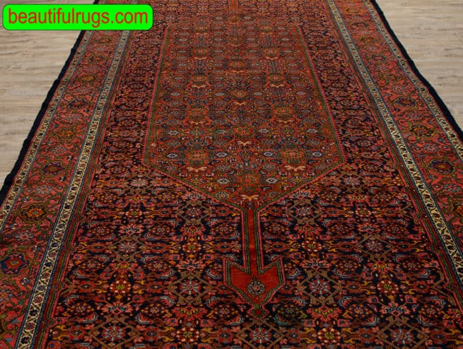 Antique Persian Farahan Rug, Odd Size Rug with Black and Rust Color, size 7x17.6, close up image