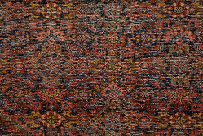 Antique Persian Farahan Rug, Odd Size Rug with Black and Rust Color, size 7x17.6, backside image