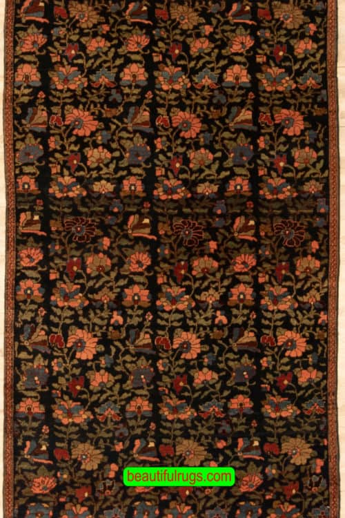 Handmade Antique Persian Bijar Rug, Floral Design Vegetable Dyed Rug, size 3.5x5.7, main image
