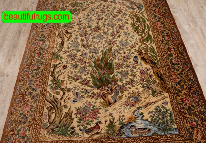 Qum Silk Rug, Weeping Willow Tree of Life Rug, Handmade Persian Rug, size 4.7x7, close up image